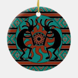 Ornement Rond En Céramique Noël tribal de sud-ouest de Kokopelli de turquoise