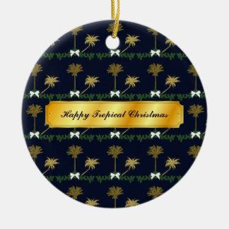 Ornement Rond En Céramique Noël tropical de bleu et d'or avec des palmiers