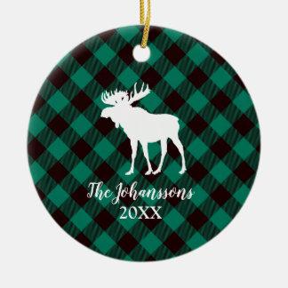 Ornement Rond En Céramique Noël vert de motif de plaid d'orignaux et de