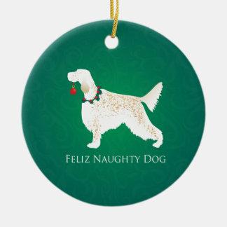 Ornement Rond En Céramique Noël vilain de chien de Feliz de poseur anglais