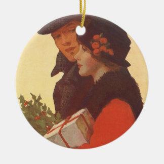 Ornement Rond En Céramique Noël vintage, achats de cadeau d'histoires d'amour