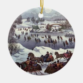 Ornement Rond En Céramique Noël vintage, Central Park en hiver