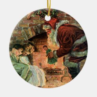Ornement Rond En Céramique Noël vintage, enfants victoriens du père noël