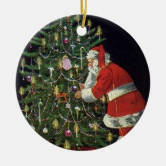 Ornement Rond En Céramique Noël vintage, le père noël avec des présents