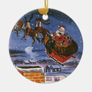 Ornement Rond En Céramique Noël vintage le père noël pilotant son Sleigh