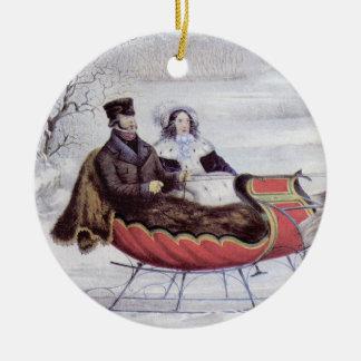 Ornement Rond En Céramique Noël vintage, l'hiver de route, cheval de Sleigh