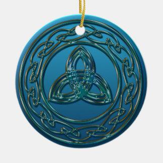 Ornement Rond En Céramique Noeud celtique de trinité en métal antique en vert