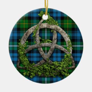 Ornement Rond En Céramique Noeud et clan celtiques Campbell de tartan