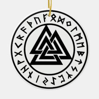 Ornement Rond En Céramique Noeud païen Valknut d'Odins de symboles