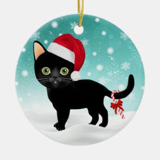 Ornement Rond En Céramique Noir adorable Kitty de casquette de Père Noël en