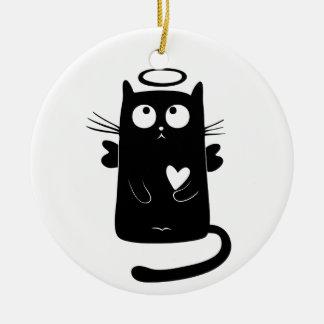 Ornement Rond En Céramique Noir angélique de Kitty