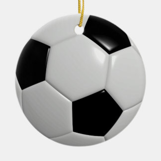 Ornement Rond En Céramique Noir du ballon de football |