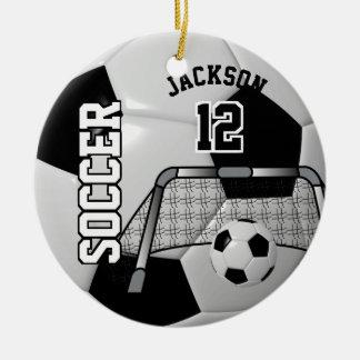 Ornement Rond En Céramique Noir et blanc personnalisez le ballon de football
