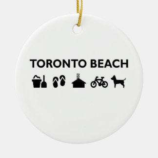 Ornement Rond En Céramique Noir monotone d'icônes de plage de Toronto