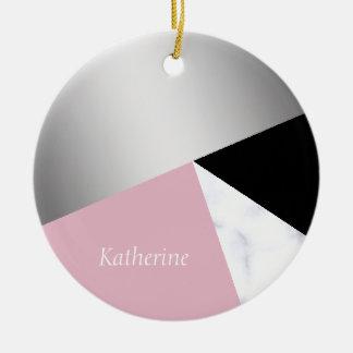 Ornement Rond En Céramique Noir rose de marbre blanc argenté géométrique