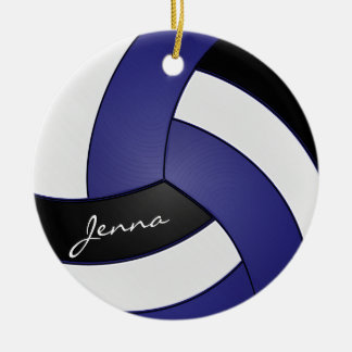 Ornement Rond En Céramique Nom bleu-foncé et noir et blanc du volleyball |