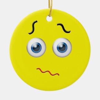 Ornement Rond En Céramique Nom confus jaune de coutume d'Emoji