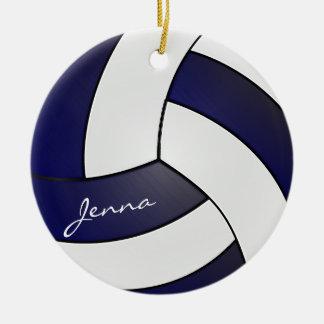 Ornement Rond En Céramique Nom du volleyball | do-it-yourself de bleu marine