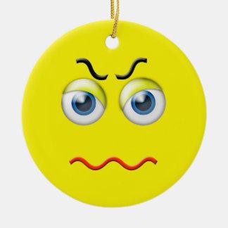 Ornement Rond En Céramique Nom fâché jaune de coutume d'Emoji