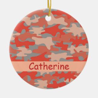 Ornement Rond En Céramique Nom gris orange de camouflage de Camo personnalisé