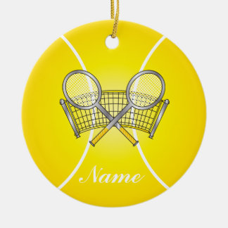 Ornement Rond En Céramique Nom jaune de la balle de tennis | do-it-yourself