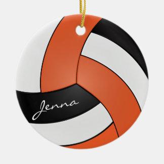 Ornement Rond En Céramique Nom orange, blanc et bleu du volleyball |
