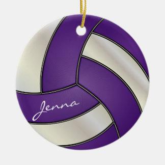 Ornement Rond En Céramique Nom pourpre et blanc du volleyball |