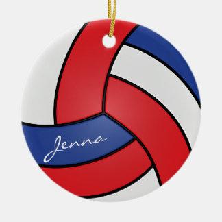 Ornement Rond En Céramique Nom rouge, blanc et bleu du volleyball |