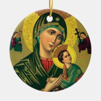 Ornement Rond En Céramique Notre mère d'aide perpétuelle Jésus