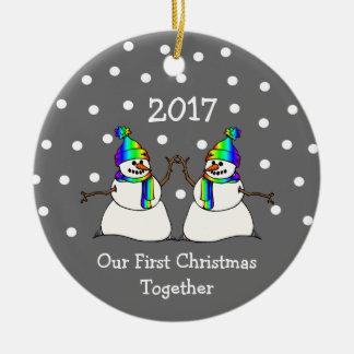Ornement Rond En Céramique Notre premier Noël ensemble 2017 (bonhommes de