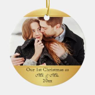 Ornement Rond En Céramique Notre première de Noël coutume ensemble