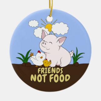 Ornement Rond En Céramique Nourriture d'amis pas - porc et poulet mignons