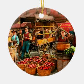 Ornement Rond En Céramique Nourriture - légumes - marché 1908 d'Indianapolis