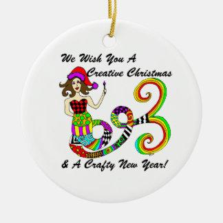 Ornement Rond En Céramique Nous vous souhaitons une sirène créative de Noël