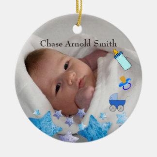 Ornement Rond En Céramique Nouveau souvenir de naissance de bébé de photo