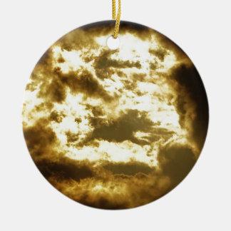 Ornement Rond En Céramique Nuage doré