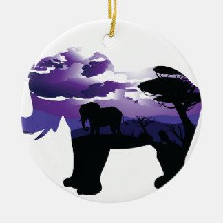 Ornement Rond En Céramique Nuit africaine avec l'éléphant