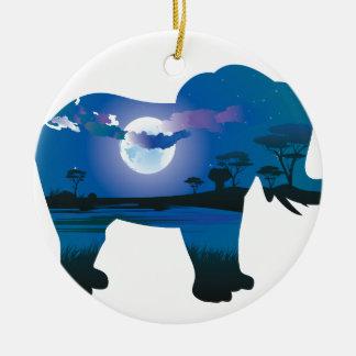 Ornement Rond En Céramique Nuit africaine avec l'éléphant 2