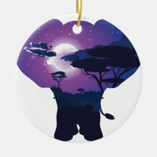 Ornement Rond En Céramique Nuit africaine avec l'éléphant 3