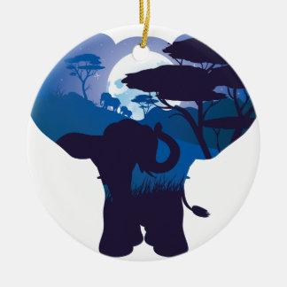Ornement Rond En Céramique Nuit africaine avec l'éléphant 4