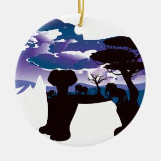 Ornement Rond En Céramique Nuit africaine avec l'éléphant 5