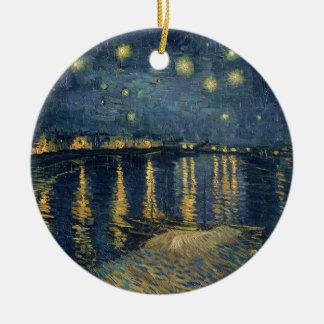 Ornement Rond En Céramique Nuit étoilée de Vincent van Gogh | au-dessus du