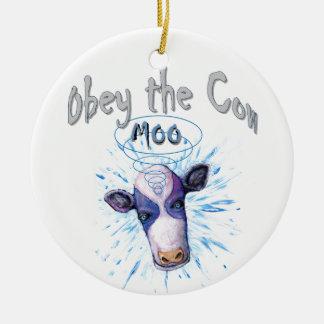 Ornement Rond En Céramique Obéissez la vache télépathique