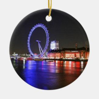 Ornement Rond En Céramique Oeil de Londres la nuit