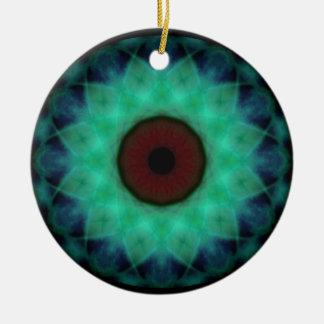 Ornement Rond En Céramique Oeil mauvais turquoise d'horreur