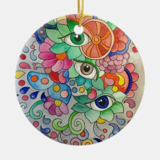 Ornement Rond En Céramique Oeils en couleur