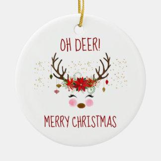 Ornement Rond En Céramique Oh renne mignon de Joyeux Noël de cerfs communs