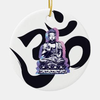 Ornement Rond En Céramique Ohm Bouddha