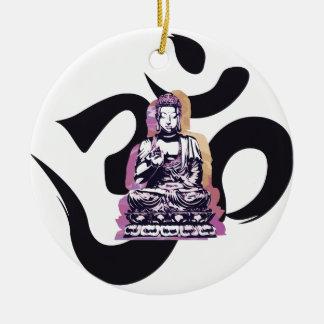 Ornement Rond En Céramique Ohm de Buddah de coucher du soleil