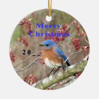 Ornement Rond En Céramique Oiseau bleu